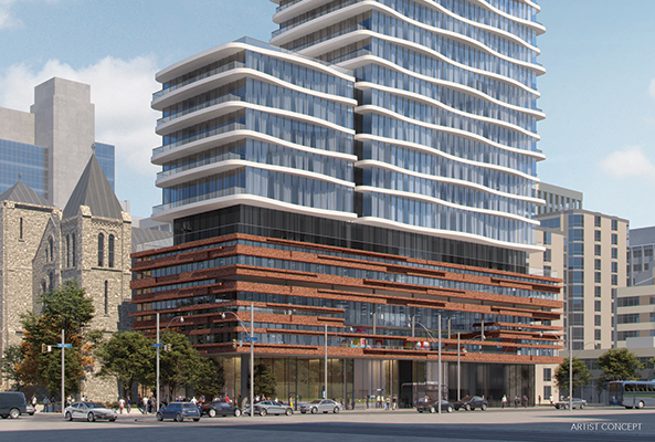 Rendering of Artistry Condos podium and ground-level retail.