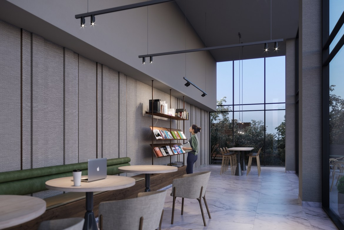 Rendering of The Tailor Queensway Residences library with seating.