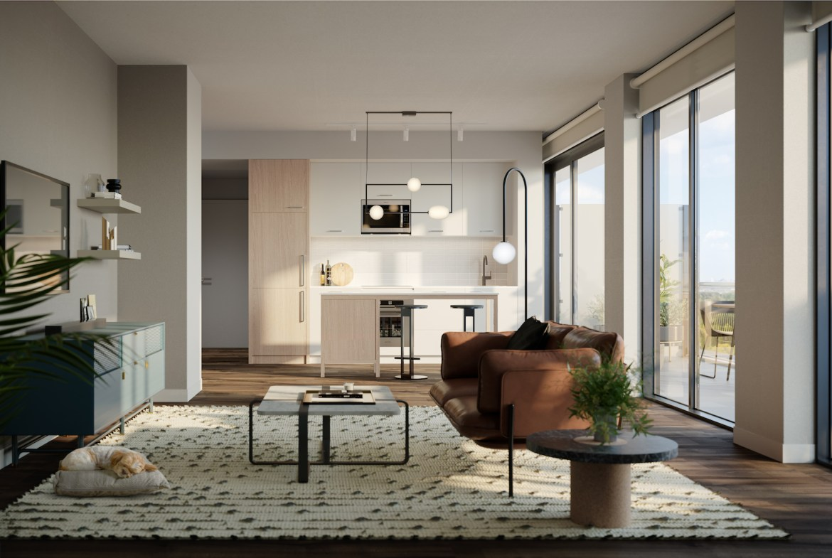 Rendering of The Tailor Queensway Residences suite living room palette 2.