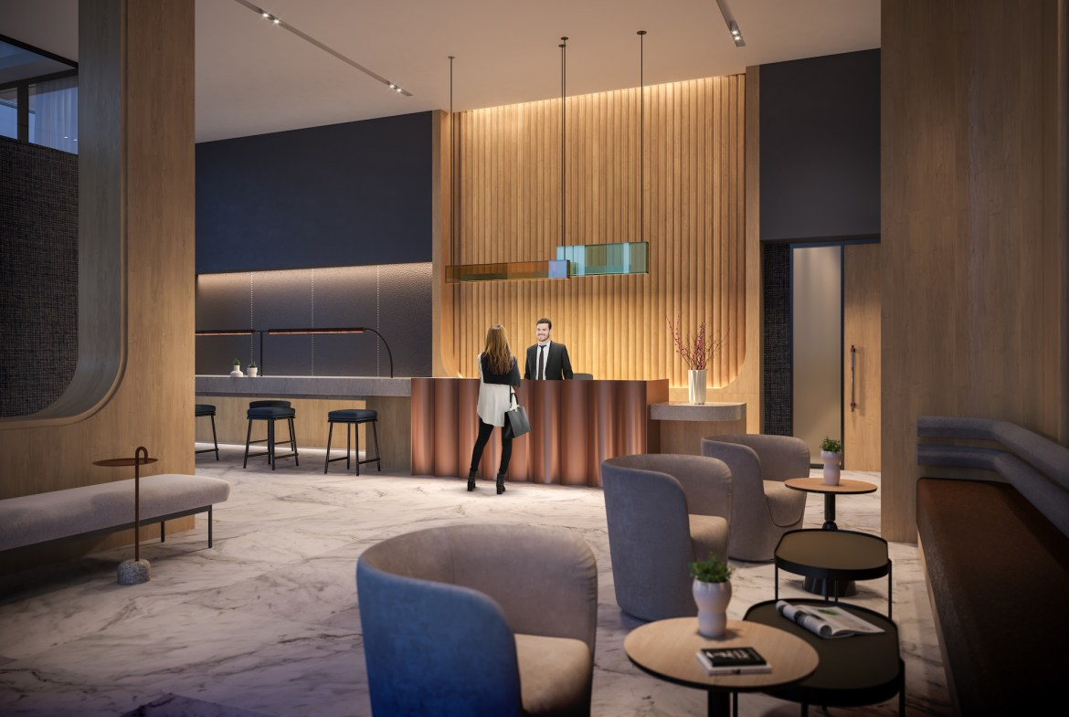 Rendering of The Tailor Queensway Residences lobby with concierge.