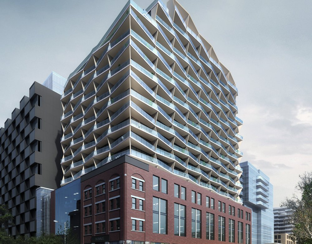Rendering of 663 King Street West Condos on a cloudy day.