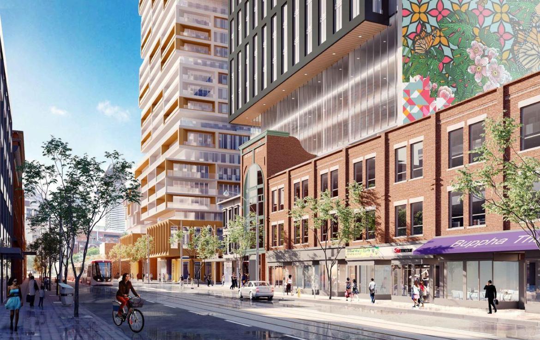 Rendering of 90 Queen Street East Condos streetscape.