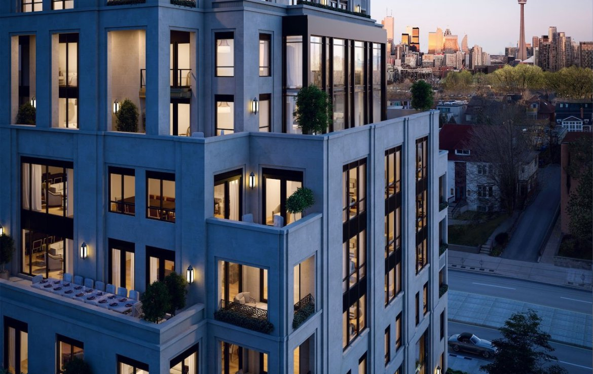 Partial exterior rendering of One Forest Hill Condos at night.