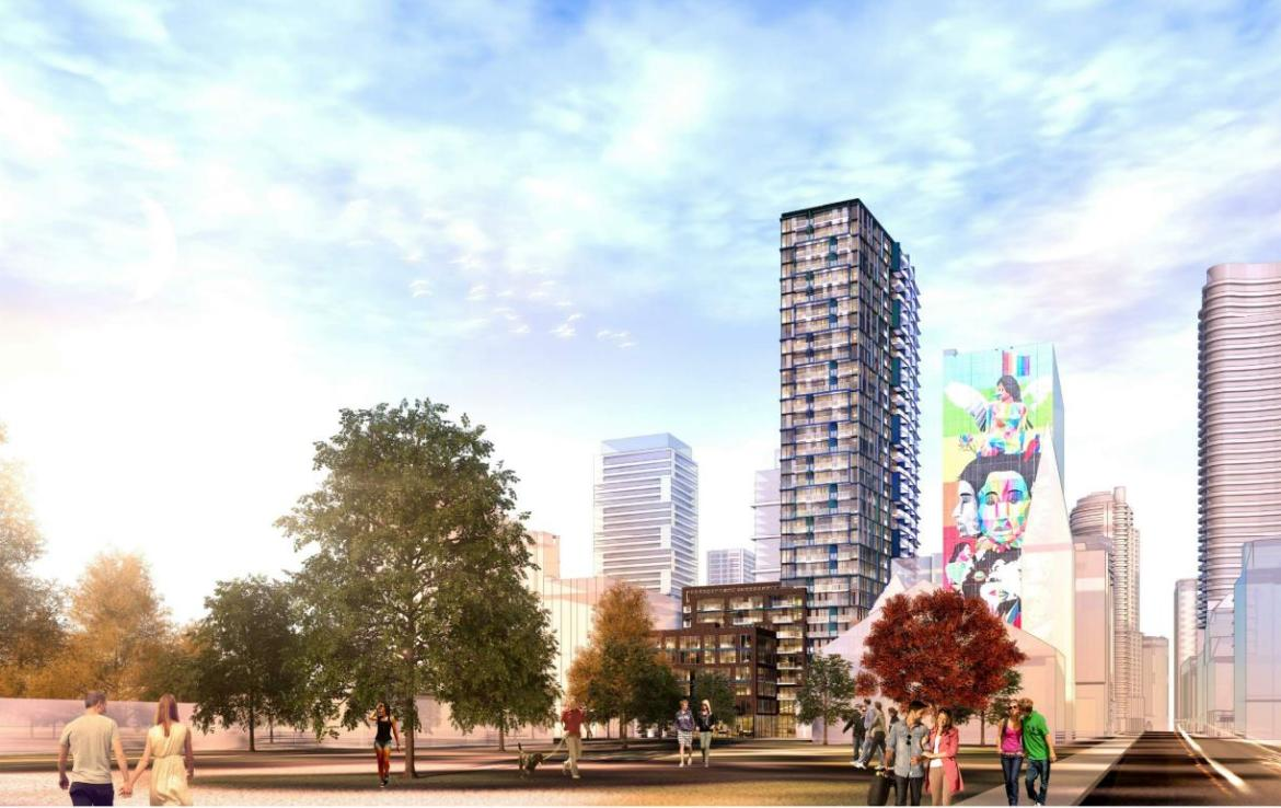 Rendering of JAC Condos with building art nearby.