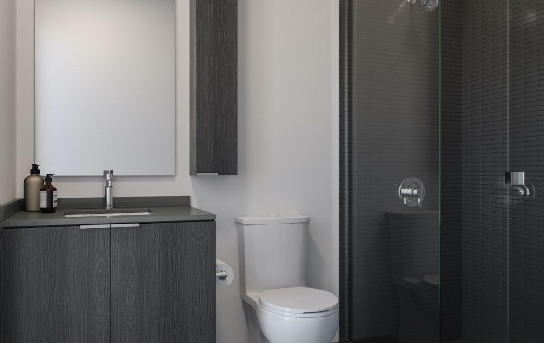 Rendering of ARTFORM Condos bathroom dark.