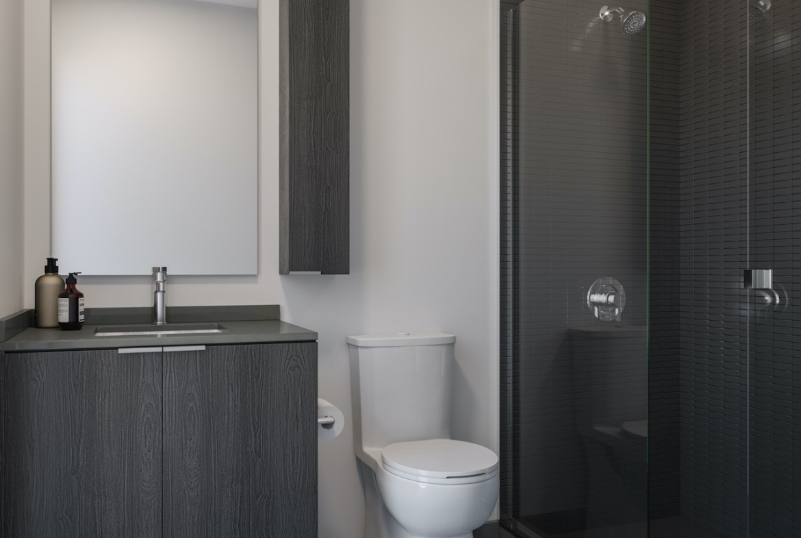 Rendering of ARTFORM Condos bathroom dark.