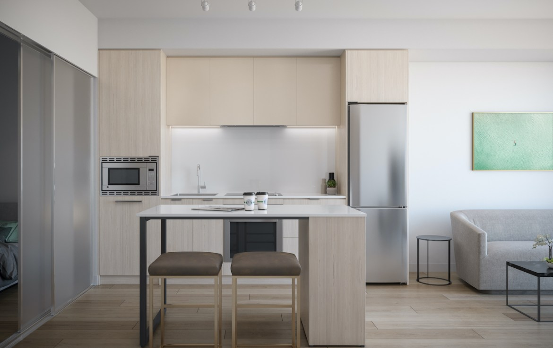 Rendering of ARTFORM Condos suite interior kitchen light.