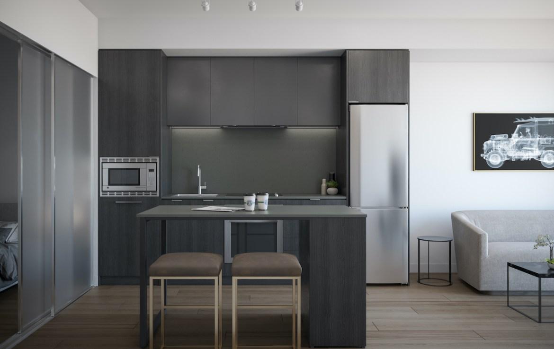 Rendering of ARTFORM Condos interior suite kitchen dark.