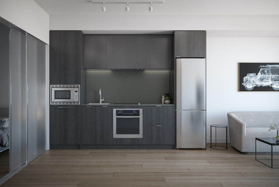 Rendering of ARTFORM Condos kitchen dark without island.
