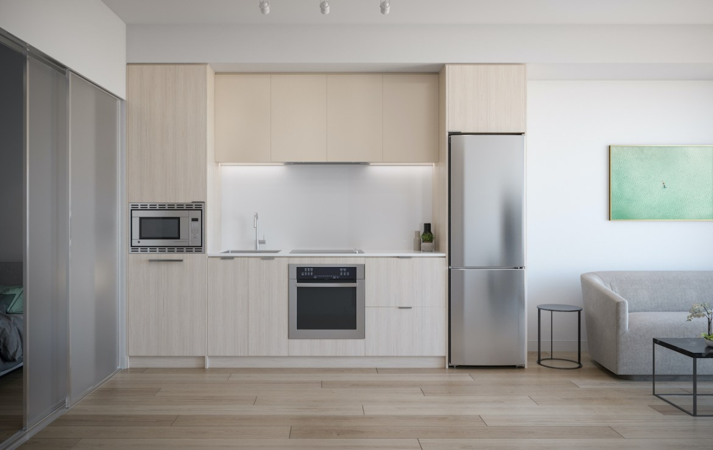 Rendering of ARTFORM Condos suite kitchen light without island.
