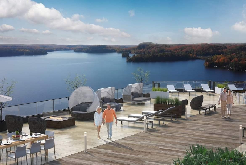 Rooftop rendering of Lakeside Muskoka Condos