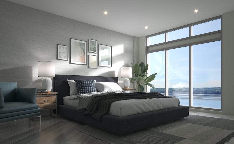 Interior bedroom rendering of Lakeside Muskoka Condos