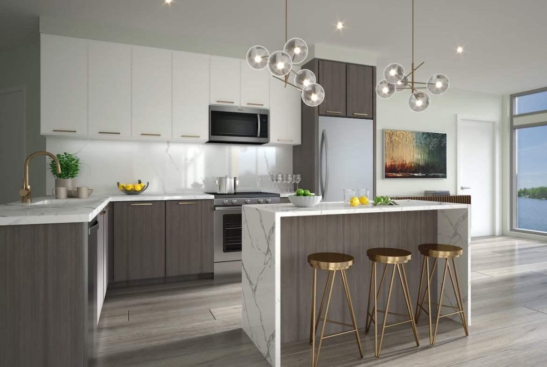 Interior kitchen of rendering of Lakeside Muskoka Condos