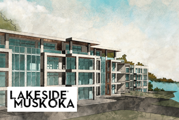 Lakeside Muskoka Condos rendering with logo overlay.