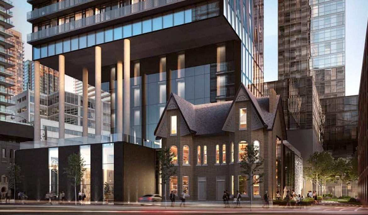 Exterior rendering of Carlyle Condos street-level at dusk.