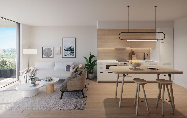 Rendering of Queen & Ashbridge Condos Typical One Bedroom Suite.