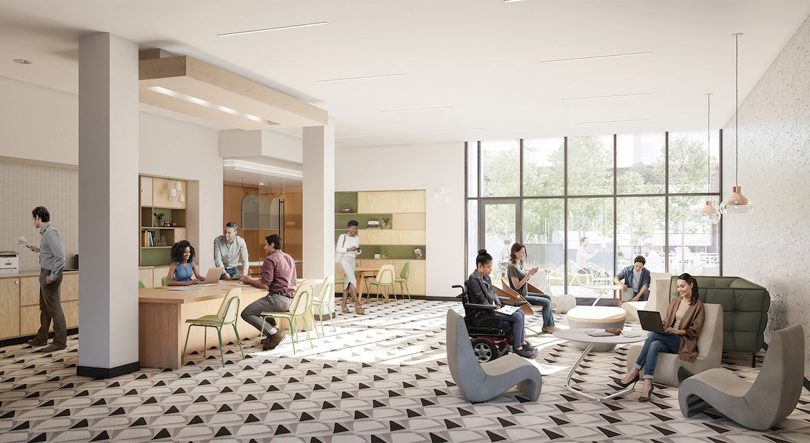Rendering of Artsy Condos co-working space.