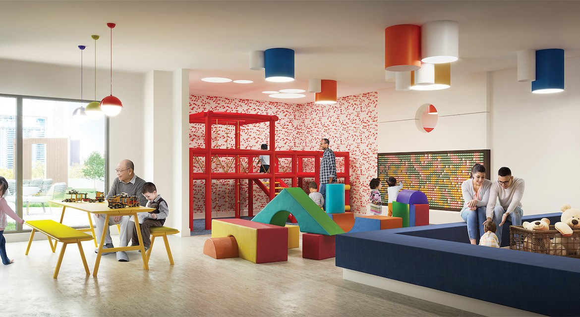 Rendering of Artsy Condos indoor kids zone play area.