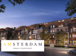 Rendering of Amsterdam Urban Townhomes with logo overlay.