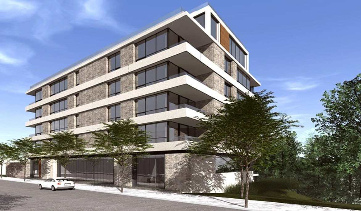 Rendering of 847 Kingston Road Condos building front-view exterior.