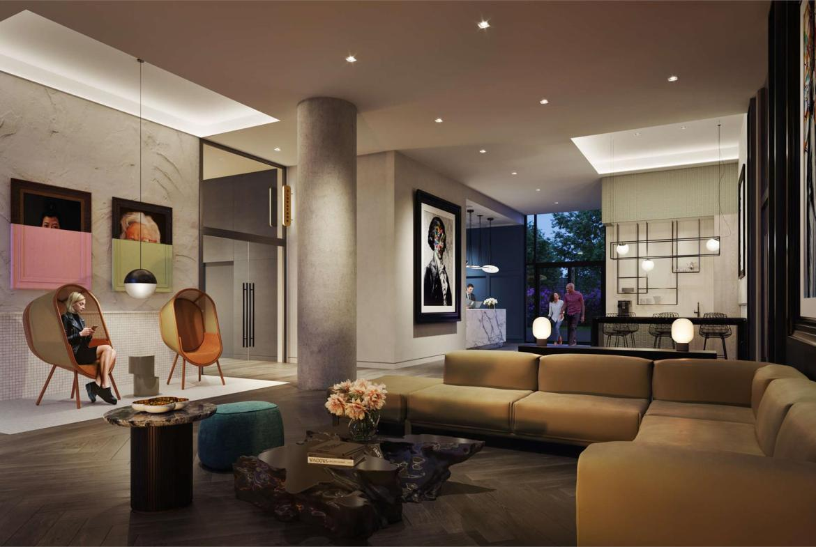 Rendering of Liberty House Condos lobby in the evening.