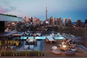 Rendering of Liberty House Condos rooftop patio with lounge area and outdoor pool.