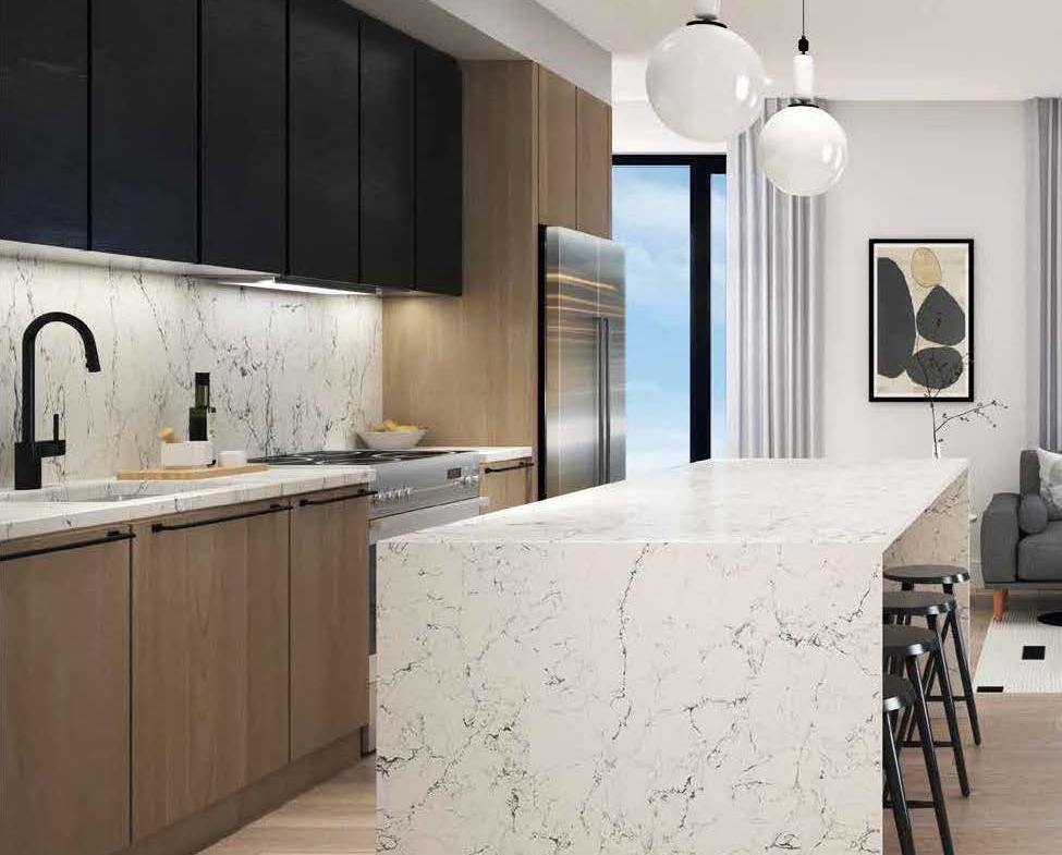 Rendering of Spur Line Common marble kitchen counter-top