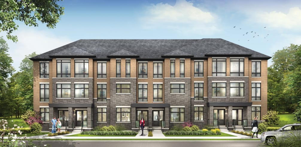 Exterior rendering of Total Towns by Sundance Homes in Oshawa.