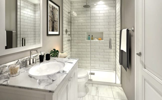 Interior rendering of Total Towns unit bathroom.