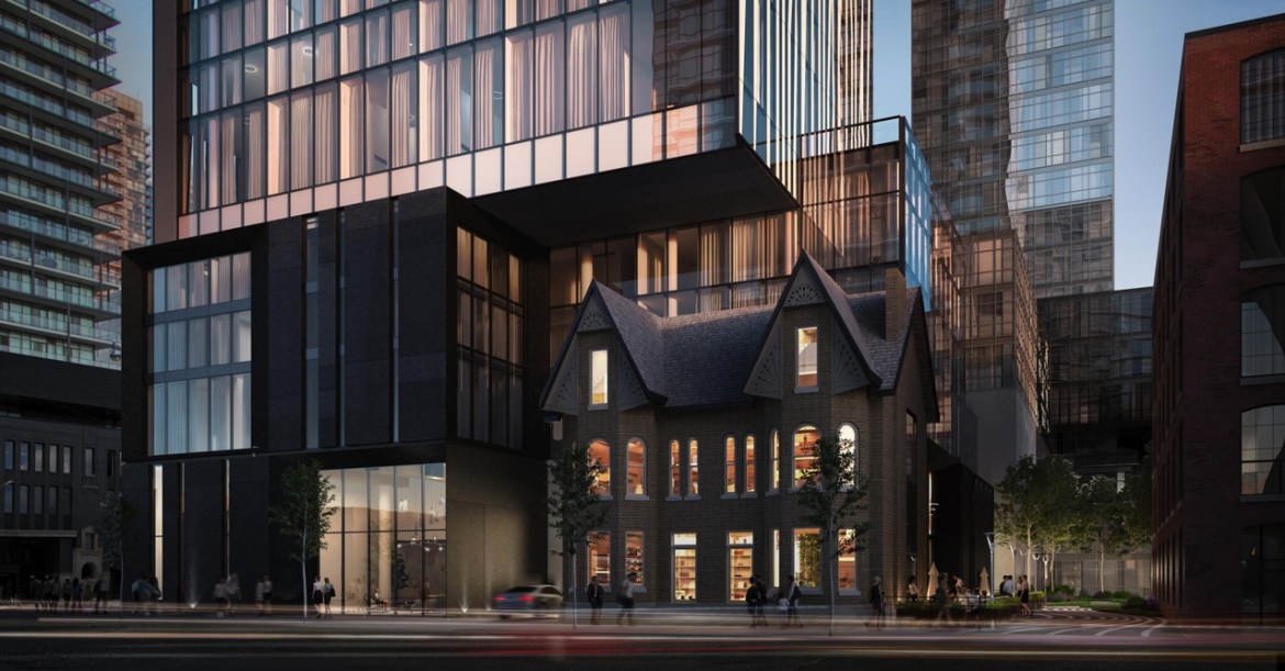 Nighttime front rendering of 122, 124, 126 and 128 Peter Street and 257 and 259 Richmond Street West Condos in Toronto