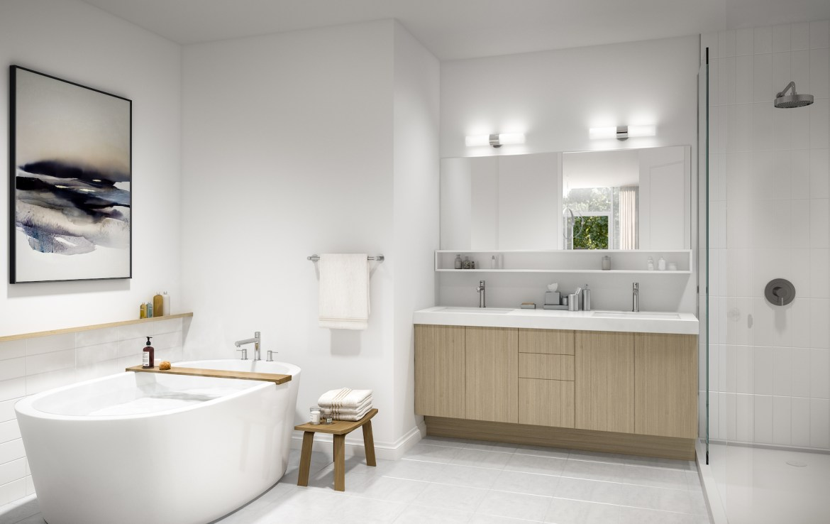 Rendering of Community Crafted Towns suite master bathroom.