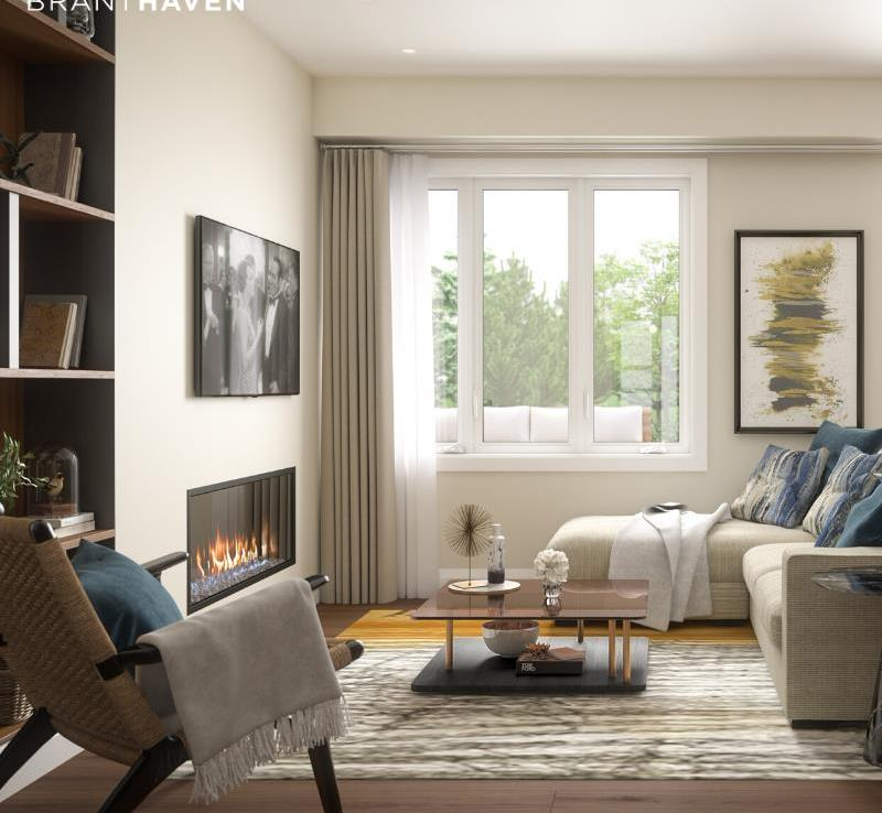 Rendering of Community Crafted Towns suite interior living room.