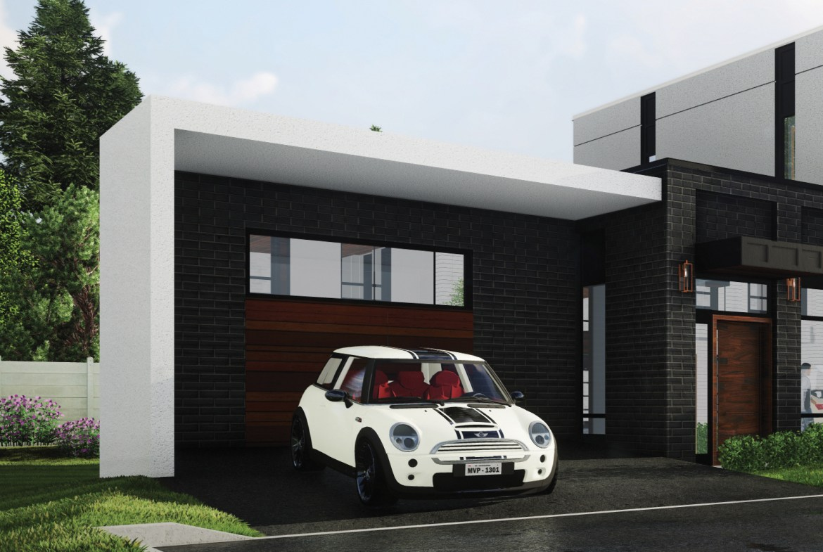 Rendering of Glendor Towns unit with large garage and parking space.