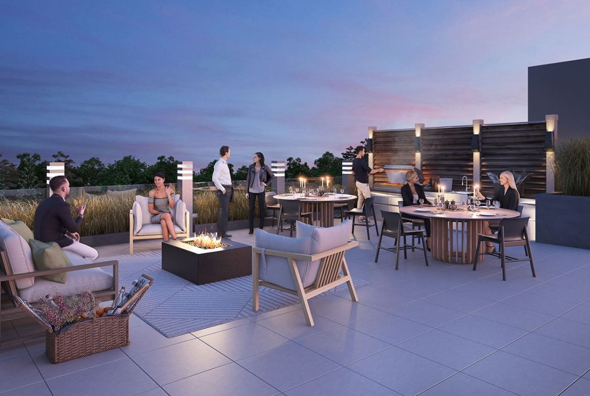 Rendering of the Harrington Residences rooftop terrace at night.