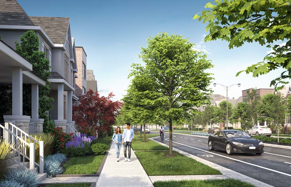 Rendering of Union Village pedestrian friendly sidewalks.