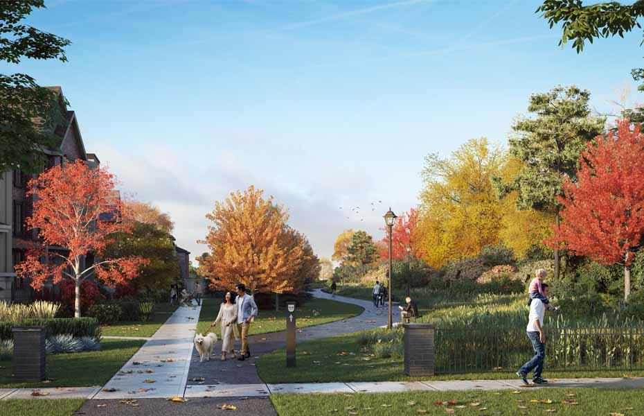 Rendering of Union Village pedestrian friendly trail.