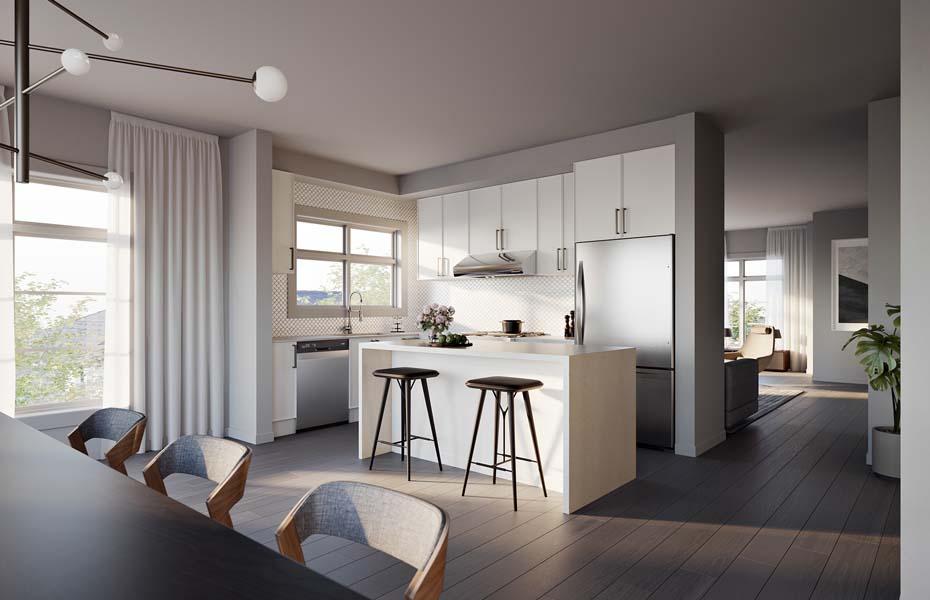 Rendering of Union Village unit 30 Rear Lane interior kitchen.