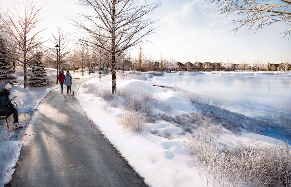 Rendering of Union Village community pond in the winter.