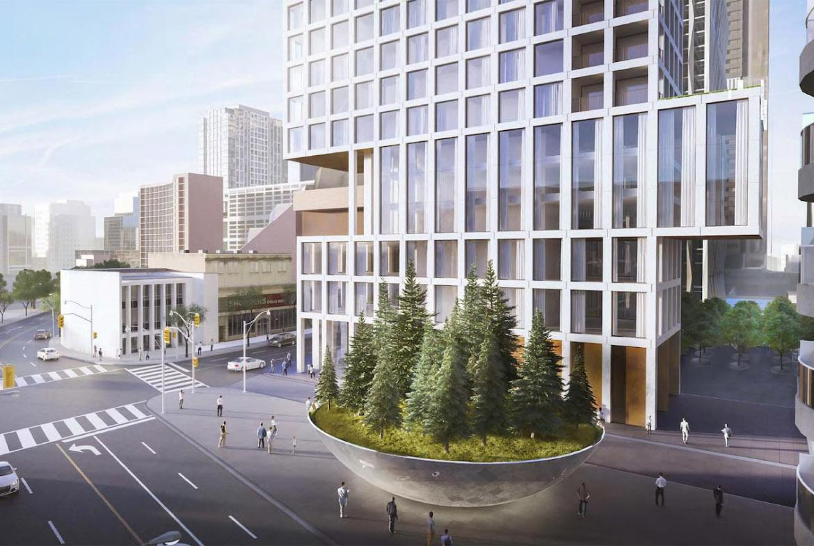 Rendering of 1 Scollard Condos podium and Frank Stollery Parkette.