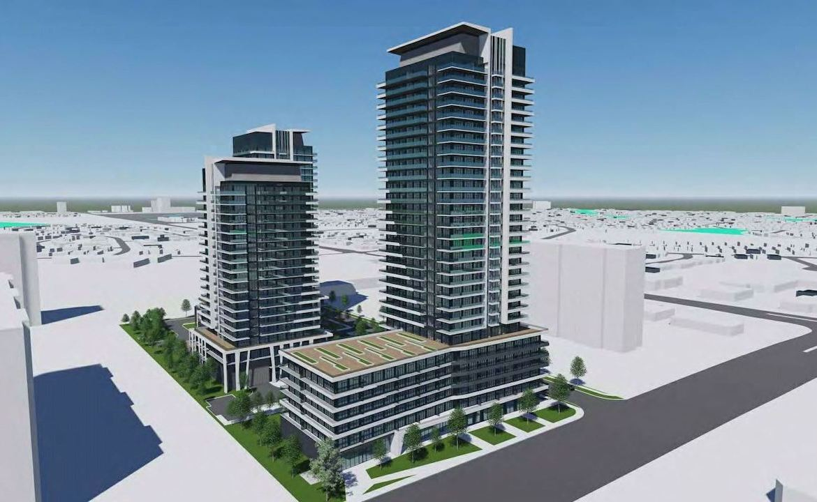 Rendering of 1221 Markham Road Condos exterior 2-towers side view.