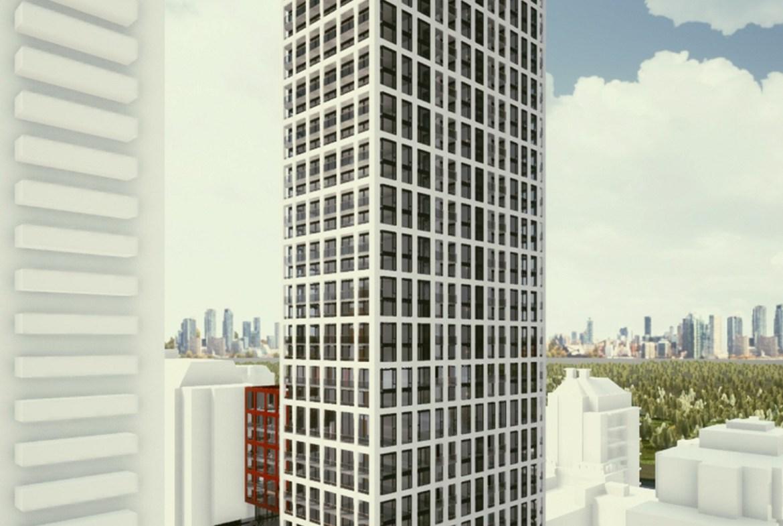 Full exterior rendering of 155 Balliol Condos in Toronto.