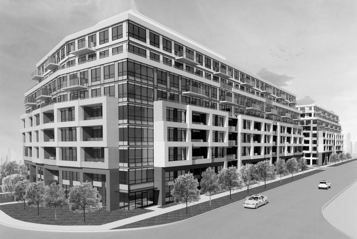 Rendering of 1625 Military Trail Condos exterior and streetscape