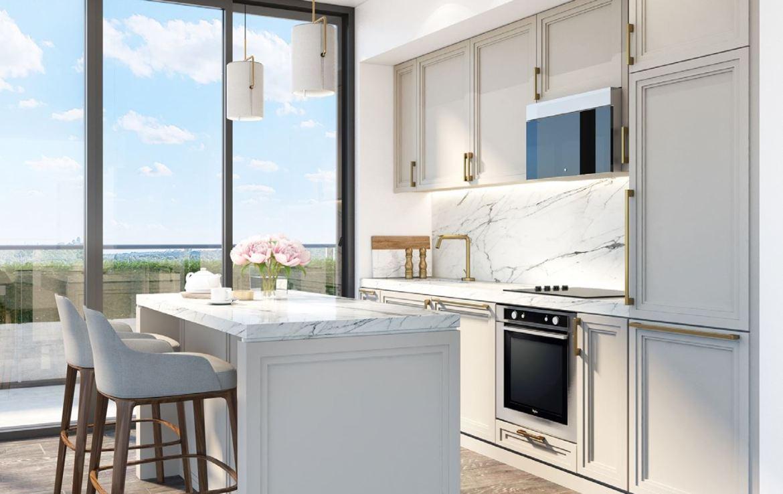 Rendering of 181 East Condos suite interior kitchen.