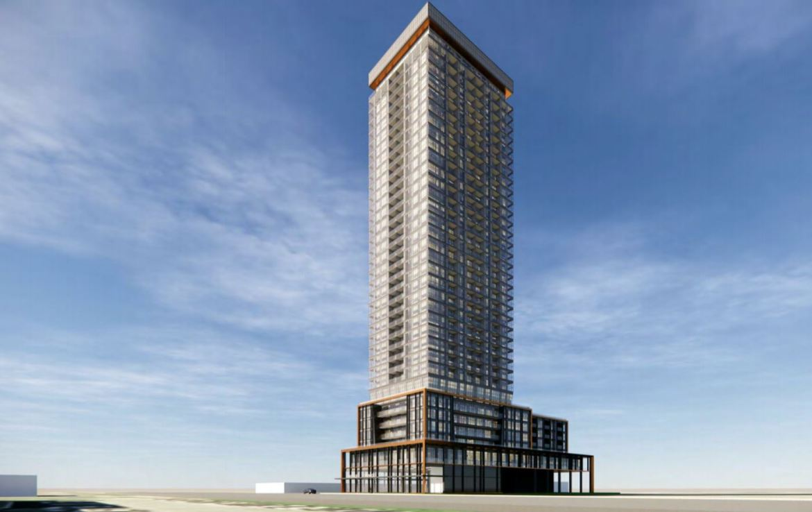 Rendering of 1910 Eglinton East Condos exterior in full.