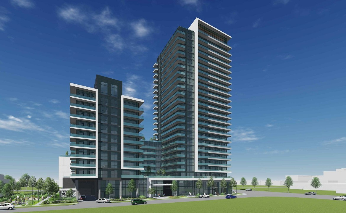 Full building exterior rendering of 2699 Keele Street Condos in Toronto.