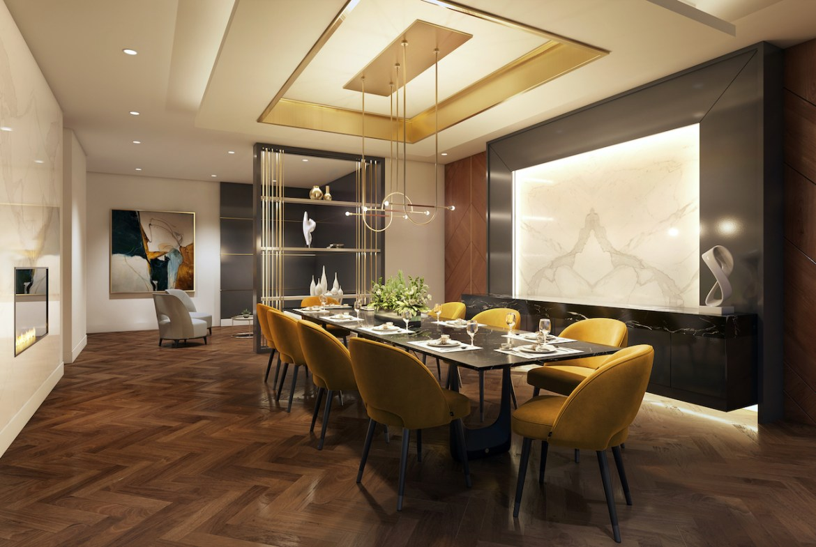 Rendering of The Butler Condos private dining area.