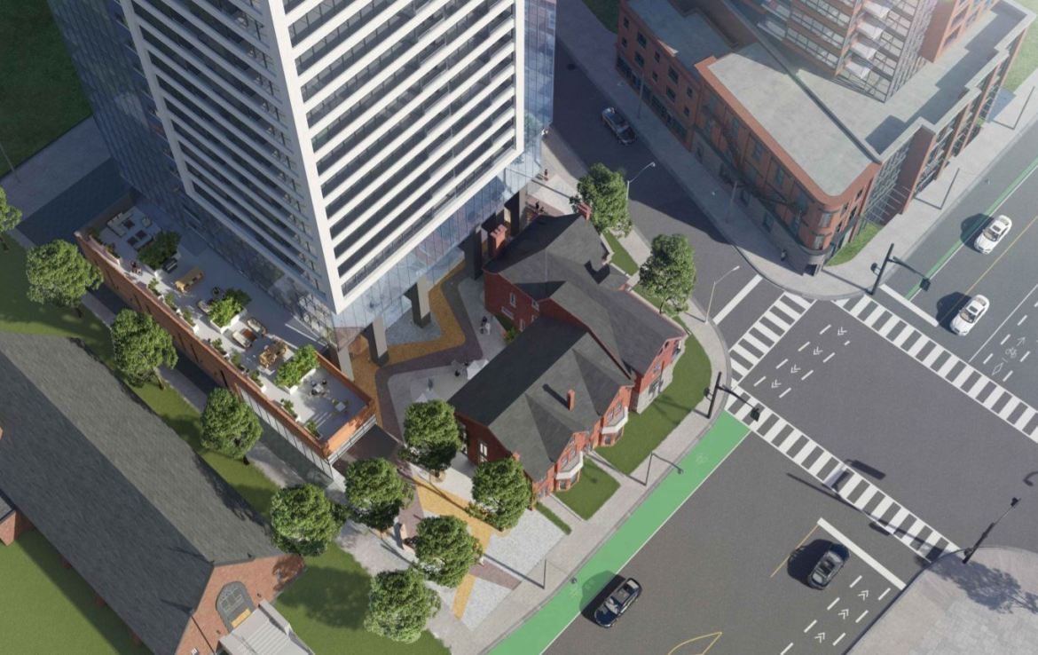 Aerial rendering of Burke Condos and streetscape.