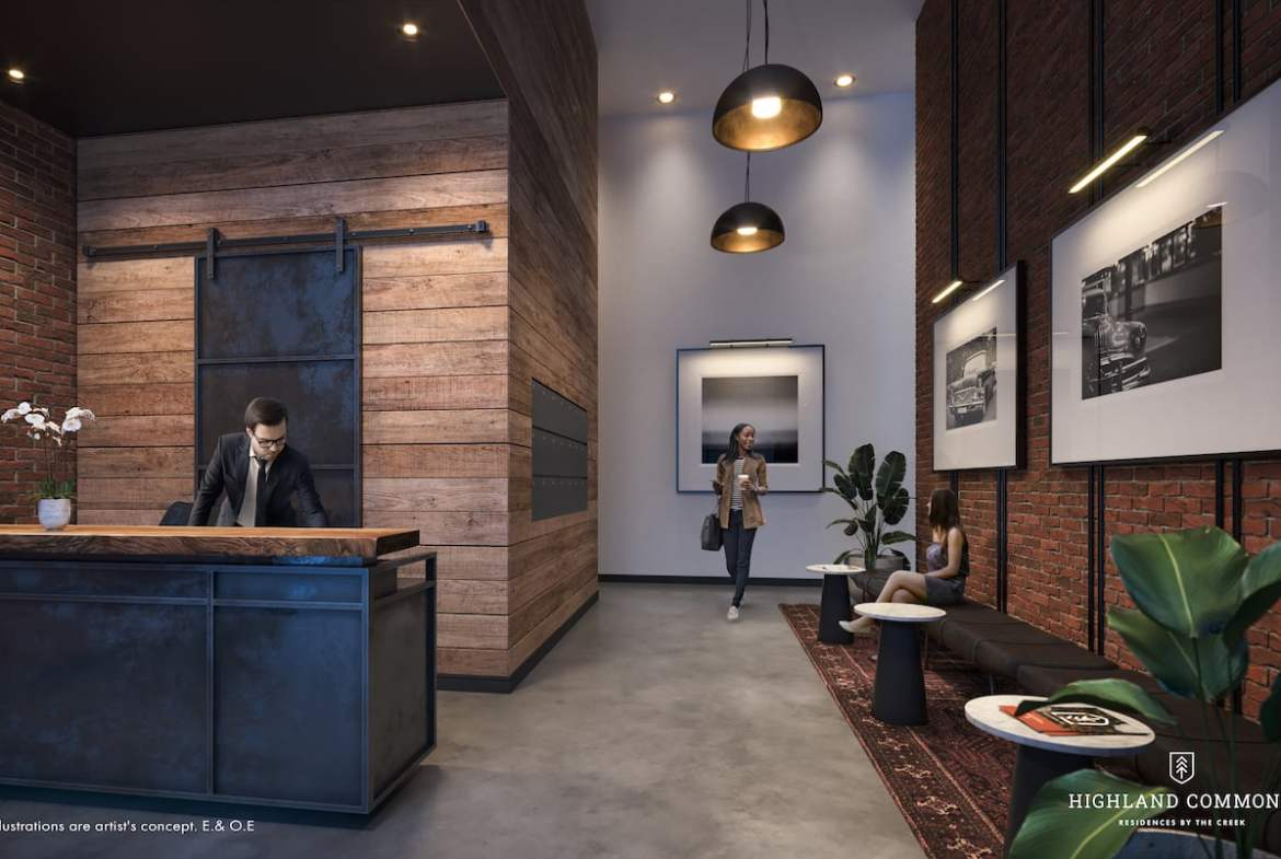 Rendering of Highland Commons interior lobby