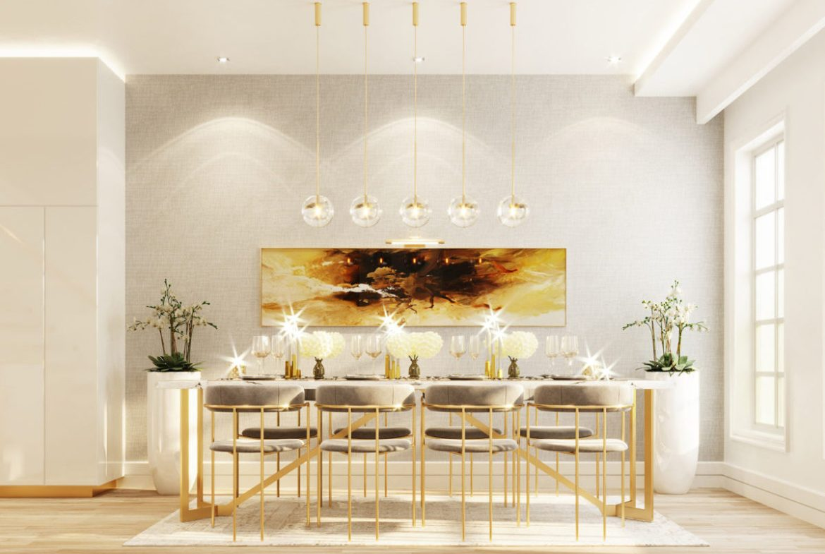 Rendering of Hillhurst Towns interior dining room.