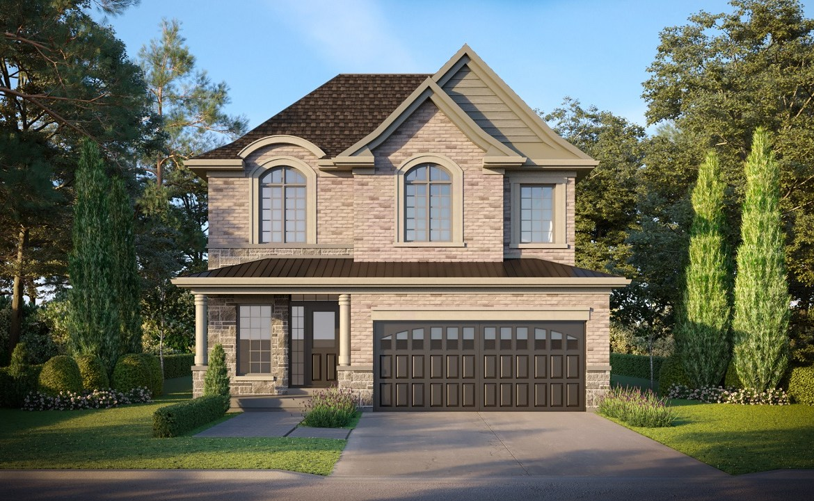 Exterior rendering of King East Estates detached home during the day.
